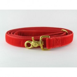 Swiss Velvet Leash In Lipstick Red