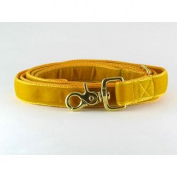 Swiss Velvet Leash In Bright Gold